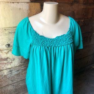 3/$25! Just My Size 3X Petal Sleeve Blouse Green
